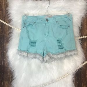 Altar'd State | Distressed Turquoise Denim Shorts